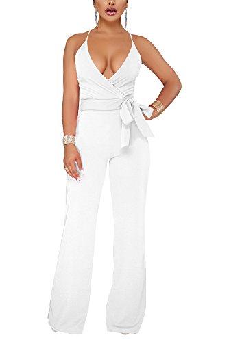 Aro Lora Women's Sexy V Neck Sleeveless Backless Long Wide Leg Pant Jumpsuit Romper XX-Large White