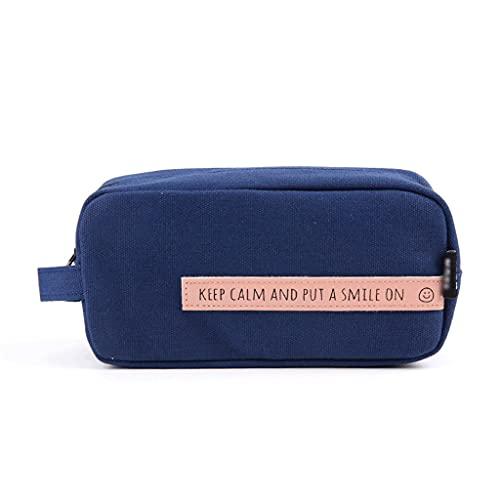 ZANZAN Caja de lápices de Cremallera Grande con Cremallera Bolsa de papelería Multifuncional con asa, Bolsa de cosméticos portátiles Bolsa de Almacenamiento de Viaje-3 Colores (Color : Blue)
