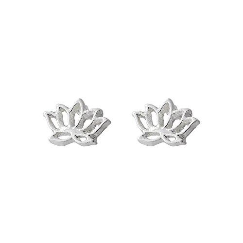 Pendientes de Botón Selia Diseño Flor de Loto /Aretes en Declaración Minimalista con Acabado Brillante