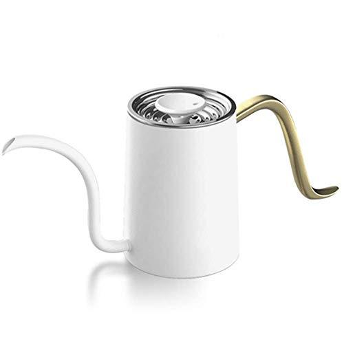 Djy-jy Bouilloire 480ML Bouilloire qualité alimentaire 304 en acier inoxydable portable léger Verser sur Pot crème et lait cruches (Couleur: Blanc, Taille: 24x11cm)