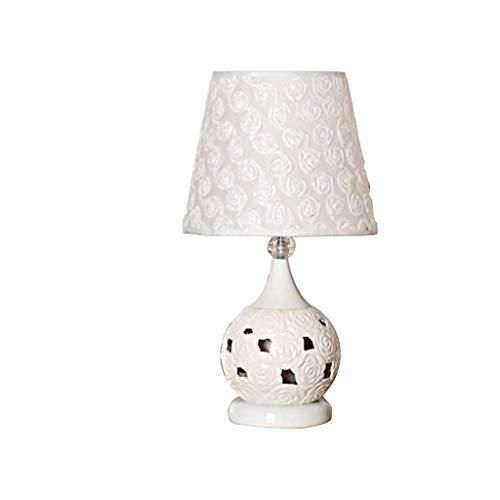 HTL Moda Creativa Lámpara de Mesa de Cerámica Dormitorio de la Familia Lámpara de Noche Estudio Sencillo Ahorro de Energía Lámpara de Mesa Lámparas de Escritorio para Dormitorio,130