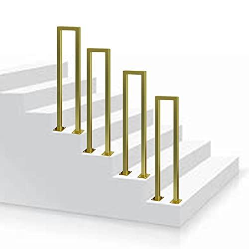 Ensemble de Garde-Corps d'escalier en Forme de U de sécurité Loft Porche Deck Main Courante en Fer 1 Marche Garde-Corps d'escalier en Or Mat en Fer forgé pour marches extérieures