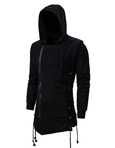 CNSTORE Men Fashion Hoodies Sweatshirts Gothic Assassins Creed Zipper Side Lace Up Jacket Fleece Loose Outwear Black