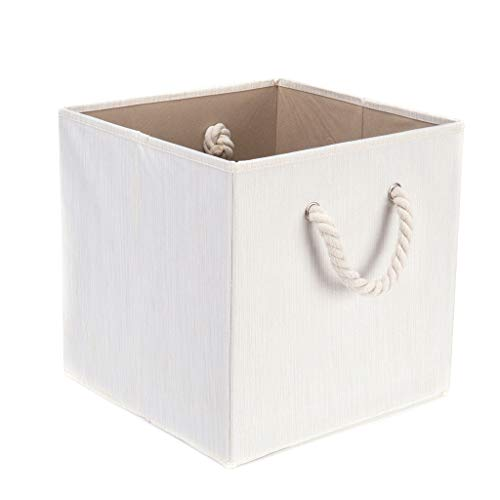 uioy Storage Box With Lid, With Lid And Cotton Rope Handle,,Beige Slub Cloth Waterproof Storage Box, With Cotton Rope Handle, Sundries Storage Box, Clothing Storage Box (Size : A)