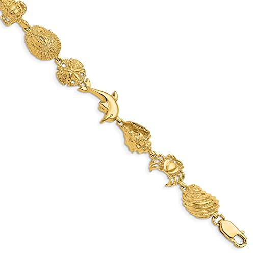 14 quilates texturizado pulido multi vida marina pulsera garra de langosta joyería regalos para mujeres – 18 centímetros