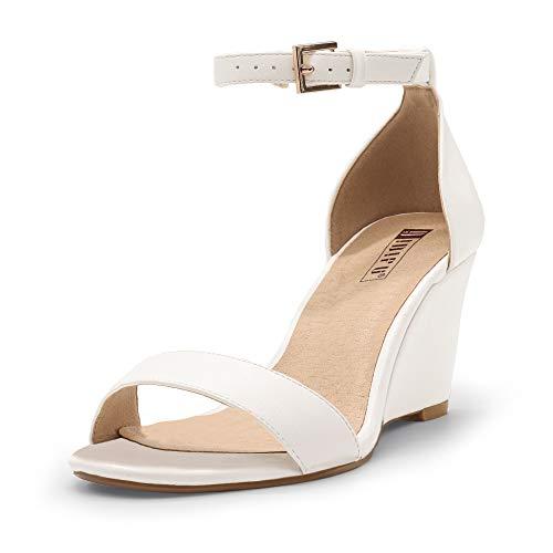 IDIFU Women's Classic Wedge Heels Sandals 3 Inch Ankle Strap Open Toe Evening Dress Wedding Shoes (White Pu, 8 M US)