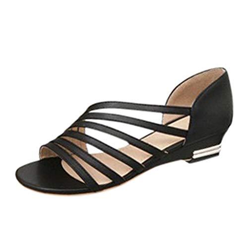 LuckyGirls Femmes Sandales Été 2020 Chaussures De Fête Femmes Danse Latine Talon Bas Élégant Femmes Sandales Robe Pas Cher Casual Romain Bout Ouvert