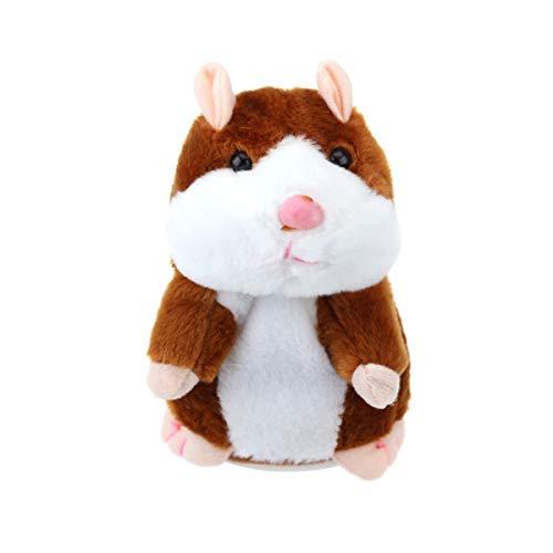 TOYANDONA Sprechendes Hamsterplüschtier Wiederholt was Sie Sagen Mimikry Haustier Elektronische Sprechende Aufzeichnung Stofftier Interaktives Spielzeug für Kleinkinder Kinder (Hellbraun)