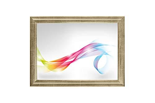 Framo 'Artist' 90 x 170 Bilderrahmen (Silber Leaf) nach Maß, 35 mm breiter MDF-Holz Rahmen inkl. entspiegelter Anti-Reflex Acrylglasscheibe, stabilisierender Rückwand, Biegestiften und Aufhängern