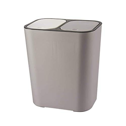 ECOSWAY Bote de Basura Rectangular Plástico Interruptor Doble Compartimento 12liter Reciclaje Cubo de Basura Basura Lata - Gris