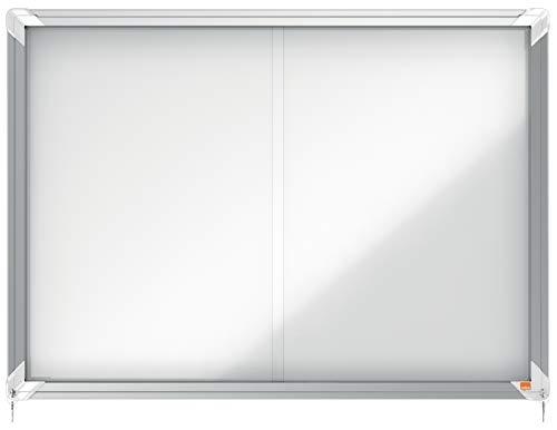 Nobo Vitrina Magnética para Interiores con Cerradura y Puerta Deslizante, para 8 Hojas A4, Premium Plus, Blanco, 1902569