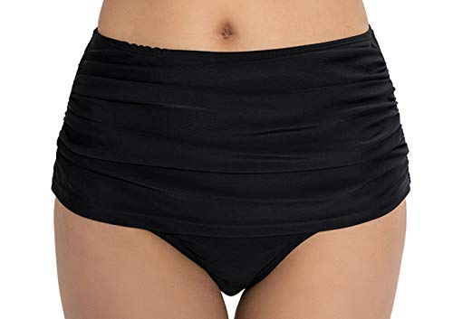 COCOPEAR Women's High Waisted Bikini Bottom Briefs Ruched Swim Shot Tankinis (FBA) Black L/8-10