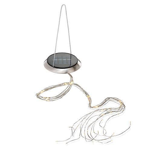 Hängendes Solar LED Lichterbündel mit 100 warmweißen LEDs - Micro LEDs auf Kupferdraht - Solarmodul mit 0,6 Watt - Lichtschleier Lichterkette Garten Party Hochzeit Solarleuchten, esotec 102182