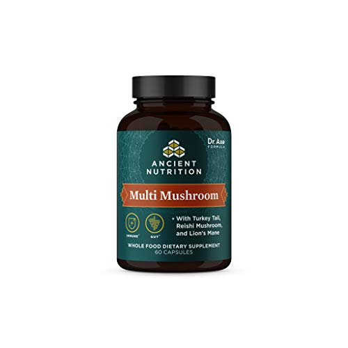 Ancient Herbals Multi Mushroom, Whole Food Dietary Supplement, Immune Support with 2 Billion CFU Probiotics, Formulated by Dr. Josh Axe, Turkey Tail, Reishi, Shiitake, Lion's Mane & More, 60 Capsules