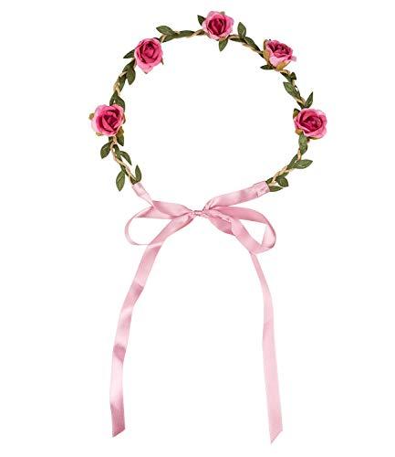 SIX Damen Haarschmuck, Haarband, Blumenschmuck, Blätter, Rosen, Schleife, JGA/Fasching/Karneval, Kostüm, grün, braun, rosa (456-601)