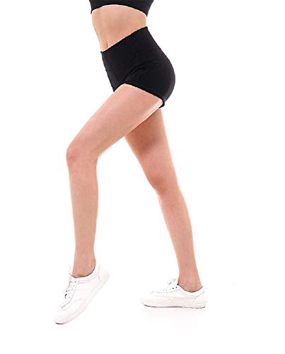 Ducomi LAX Pantaloncini Donna Sportivi - Shorts Fitness per Yoga, Palestra, Running e Crossfit - Leggings Corto Fit Aderente, Vita Alta Snellente - Spedito in Simpatico Astuccio Latte (Black, S)