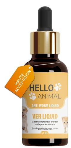 HelloAnimal Liquide vermifuges intestinaux végan Anti-vers pour Animaux – particulièrement conseillé pour Chiens, Chats, Lapins et volaille – Vermifuge intestinale Naturel estomac et intestin