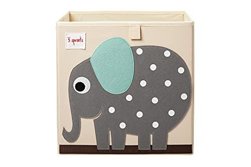 3 Sprouts Cube Storage Box - Organizer Container for Kids & Toddlers, Elephant