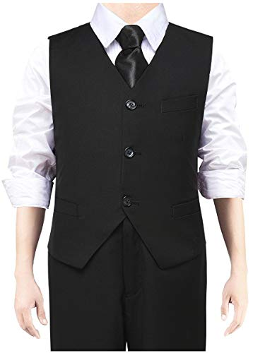 Boys Vest 3 Buttons Suits Vest with Adjustable Belt for Kids Formal Dresswear Slim Vests Outfits Black Size 2T