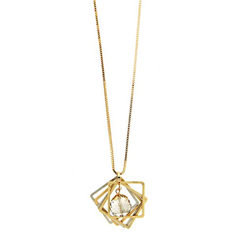Sweet Deluxe Kette Sanuye, mattgold/mattsilber/li.Topaz I Elegante Halskette für Damen, Frauen & Mädchen I Halsband Modeschmuck I Designer Necklace