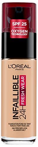 L'Oréal Paris Infaillible 24H Fresh Wear Make-up 120 Vanilla, hohe Deckkraft, langanhaltend, wasserfest, atmungsaktiv, 30ml