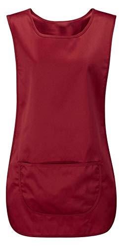 Grembiule da donna con tasca per la pulizia del catering, da lavoro, da donna, tinta unita Borgogna S