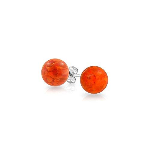 Erstellt Mexikanische Feuer Orange Opal Kugel Ohrstecker Für Frauen 925 Sterling Silber 6Mm Oktober Geburtsstein