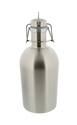 Beer Growler - 1 liter, 33oz - Stainless Steel with Swing-Top, Keeps Homebrew Fresh and Cold with Airtight Seal