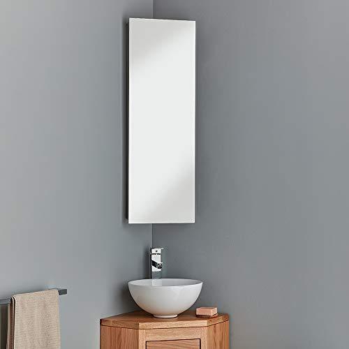 clickbasin Corner Mirror Bathroom Cabinet With Single Door 900mm x 300mm REIMS