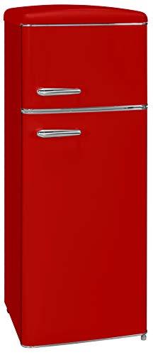 Exquisit RKGC 270/45-16 A++Rot Retro-Kühl-Gefrierkombination/EEK: A++/4* Gefrierfach/164 Liter Kühlen/44 Liter Gefrieren/ Retro-Handgriff/Rot