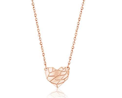 Nuoli® Herz Kette Damen Rosegold (45cm + 5cm verstellbar) hübsche Halskette mit Herz Anhänger für Frauen & Mädchen