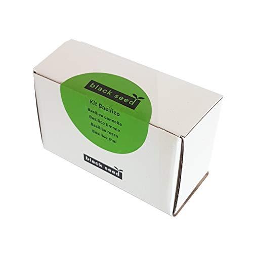 BLACK SEED - KIT BASILIC - Kit Semi Durable - Idée cadeau contenant 4 variétés rares de basilic: basilic thaï, basilic, rouge, basilic citron, basilic cannelle.