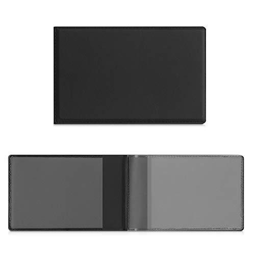 kwmobile Funda de piel sintética para identificación - Cartera plegable de 10 x 6.5 CM doblada para tarjetas DNI - negro