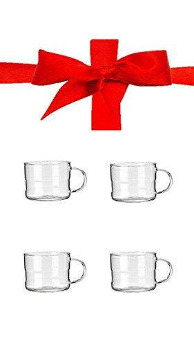 Espressotassen in geschenkbox 4er Set Sie erhalten 4 Tassen mit Henkel 200ml verpackt + 3 Geschirrspüldüfte mit Zitronenduft