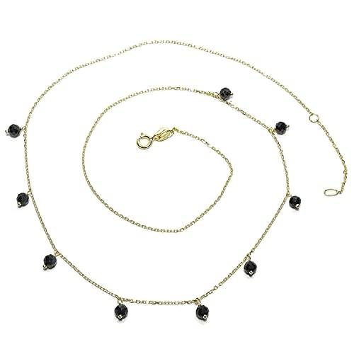 Collar de oro amarillo de 18K con espinela negra y cadena mini forzada de 45cm que gracias a sus múltiples anillas en el cierre se puede poner también a 40cm.