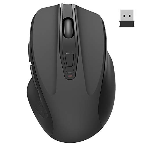 Ergonomic 2.4G Wireless Portable Mobile Mouse Optical Mice with USB Receiver, 3 Adjustable DPI Levels, 6 Buttons for Notebook, PC, Laptop, Computer (Black)