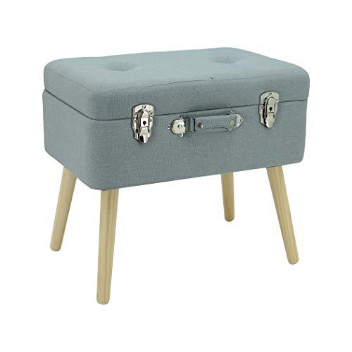 Happy Home Company 13166 - Sgabello con cassapanca e vano portaoggetti in cotone, colore: grigio