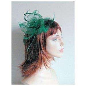 ForHimForHer Décoration fleur en maille pour cheveux avec strass et plumes assorties avec pince à ressort pour porter en bibi et pince pour boutonnière Vert