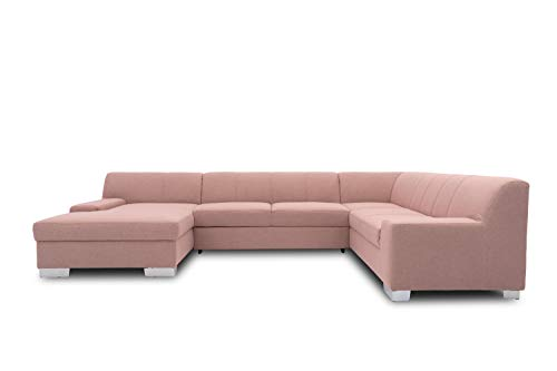 DOMO. collection Bero Wohnlandschaft, Sofa U-Form, Couch, Polstergarnitur, rosa, 153x328x212 cm