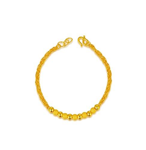 GOWE Pure de 24K oro amarillo brazalete pulsera auténtica fina de boda joyas cadena de perlas de las mujeres 2017nueva moda