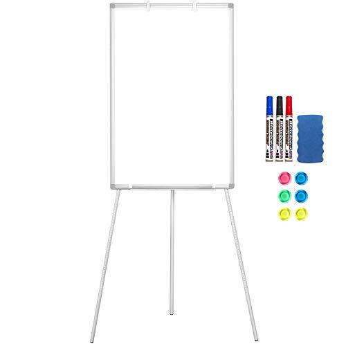 Lavagna bianca magnetica, portatile, con cavalletto, 90 x 60 cm, supporto cancellabile a secco, altezza regolabile, per ufficio o insegnamento a casa e in aula