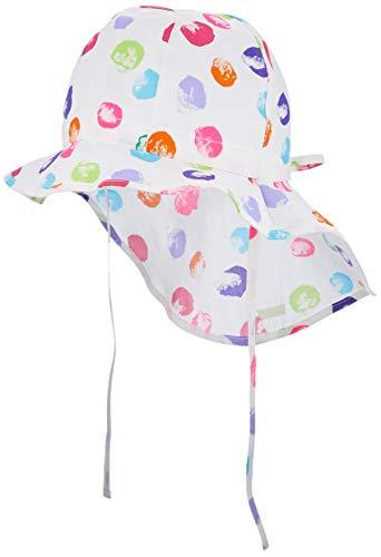 maximo Mädchen Nackenschutz Mütze, Mehrfarbig (Weiß-Multicolor-Punkte 1), (Herstellergröße: 53)