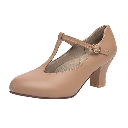 Stelle 2.5   T Strap Character Shoes for Women Big Kid (5M  Tan)