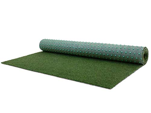 Balkonrasen Rasenteppich im Festmaß Vliesrasen mit Noppen - Moosgrün - 200 x 100 cm, Höhe 5mm, Wasserdurchlässiger Vlies-Kunstrasen, Pool-Unterlage Matte