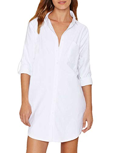 Auxo Damen Blusen Langarm V-Ausschnitt Longshirts Oversize Hemd Tunika Lose Oberteile Weiß EU 38-40/Etikettgröße M