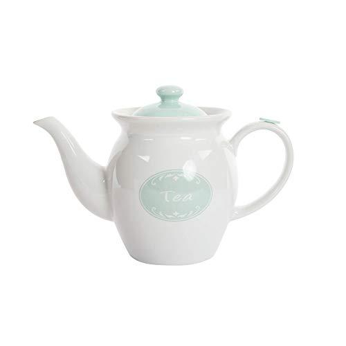 Hogar y Mas Tetera Blanca de Cerámica 600ml, para infusiones/Té. Tetera Vintage Decorativa Cocina 24X11X16 cm
