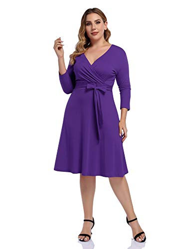 AMZ PLUS Womens V-Neck 3/4 Sleeve A Line Midi Faux Wrap Plus Size Cocktail Party Swing Dress Purple XL