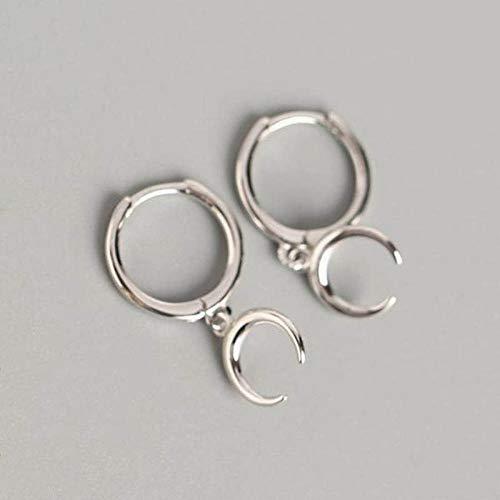 Generic Brands Pendientes de aro de plata de ley 925 con diseño de luna para mujer de moda, accesorios de joyería fina de plata