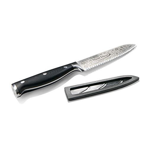 Genius A21367 Nicer Dicer Knife Professional Allzweckmesser (13 cm, rostfrei) | Kochmesser aus Edelstahl mit Wellenschnitt für alle Schneidarbeiten in G-NOX-Qualität
