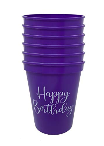 Celebration Saying Party Cups - 6 Happy Birthday (Purple)